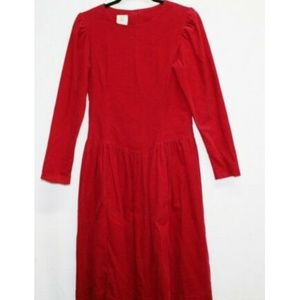 Laura Ashley vintage red corduroy Victorian dress